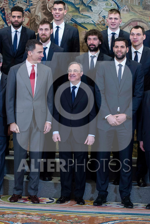 King Felipe VI of Spain, president of Real MAdrid Florentino Perez and captain of the team, Felipe Reyes during the audience to the champion  of the 80th edition of the cup of your R.M. The King, Real Madrid Basketball at Zarzuela Palace in Madrid. February 25, 2016 (ALTERPHOTOS/BorjaB.Hojas)