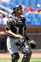 July 10th 2008:  Catcher Ronald Pena of the Hickory Crawdads, Class-A affiliate of the Pittsburgh Pirates, during a game at Classic Park in Eastlake, OH.  Photo by:  Mike Janes/Four Seam Images