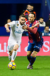 Daniel Carvajal Ramos of Real Madrid (L) fights for the ball with Giampaolo Pazzini, of Levante UD (R) during the La Liga 2017-18 match between Levante UD and Real Madrid at Estadio Ciutat de Valencia on 03 February 2018 in Valencia, Spain. Photo by Maria Jose Segovia Carmona / Power Sport Images
