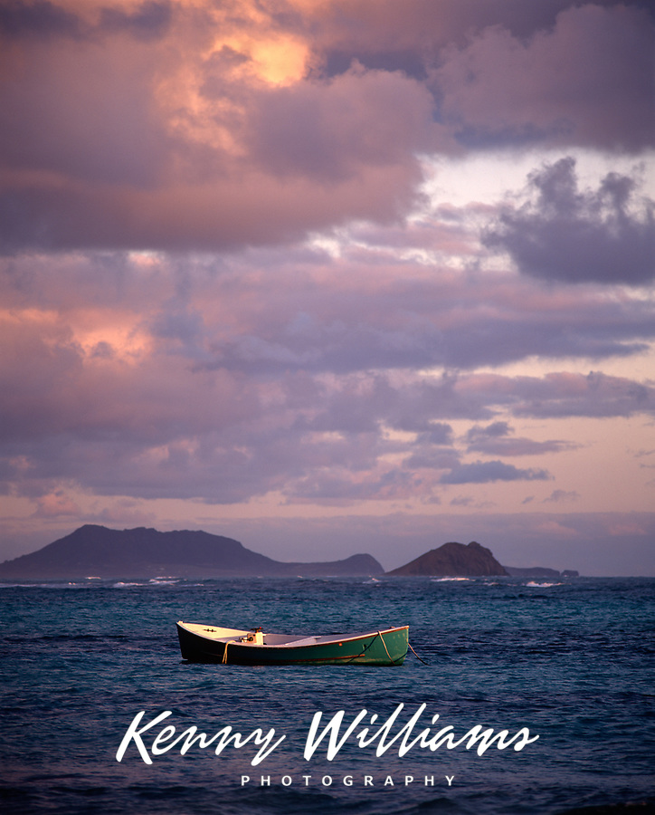 Fishing Boat at Sunrise, Waimanalo Bay, Oahu, Hawaii, USA.