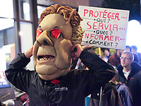 A man dressed as Quebec Premier Jean Charest takes part into a protest in front of the building where the students and the Quebec government negotiate in Quebec City Tuesday May 29, 2012. The students and the Quebec government meet for the second day in a row to try to solve a strike over tuition fee that goes for more than 100 days.<br /> <br /> PHOTO :  Francis Vachon - Agence Quebec Presse