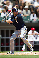 Milwaukee Brewers first baseman Cory Hart #1 at bat during the Major League Baseball game against the Chicago White Sox on June 24, 2012 at US Cellular Field in Chicago, Illinois. The White Sox defeated the Brewers 1-0 in 10 innings. (Andrew Woolley/Four Seam Images).
