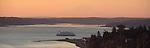 Puget Sound, Port Townsend, Mount Rainier, Port Townsend ferry, Point Hudson Marina, sunrise,  Olympic Peninsula, Washington State, Pacific Northwest, USA,