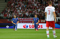 8th September 2021; PGE National Stadium, Warsaw, Poland: FIFA World Cup 2022 Football qualification, Poland versus England;  DECLAN RICE and HARRY MAGUIRE take a knee against racism
