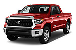 2018 Toyota Tundra SR5 5.7L Double Cab Long Bed 4 Door Pick Up angular front stock photos of front three quarter view
