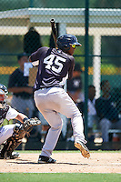 GCL Yankees East right fielder Brayan Emery (45) at bat during a game against the GCL Pirates on August 15, 2016 at the Pirate City in Bradenton, Florida.  GCL Pirates defeated GCL Yankees East 5-2.  (Mike Janes/Four Seam Images)