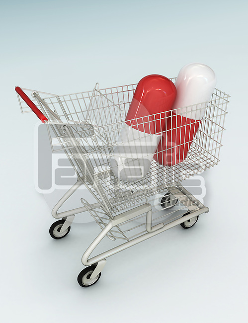 Illustrative image of capsules in shopping cart representing medical cost