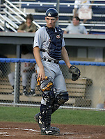 July 22, 2004:  Catcher Dusty Ryan of the Oneonta Tigers, Short-Season Low-A NY-Penn League affiliate of the Detroit Tigers, during a game at Dwyer Stadium in Batavia, NY.  Photo by:  Mike Janes/Four Seam Images