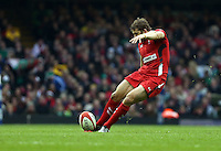 Pictured: Leigh Halfpenny takes a kick Saturday 14 March 2015<br />