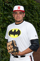 Sati Santa Cruz (47) of Sahuarita High School in Sahuarita, Arizona poses for a photo during practice before the Under Armour All-American Game on August 16, 2014 at Wrigley Field in Chicago, Illinois.  (Mike Janes/Four Seam Images)