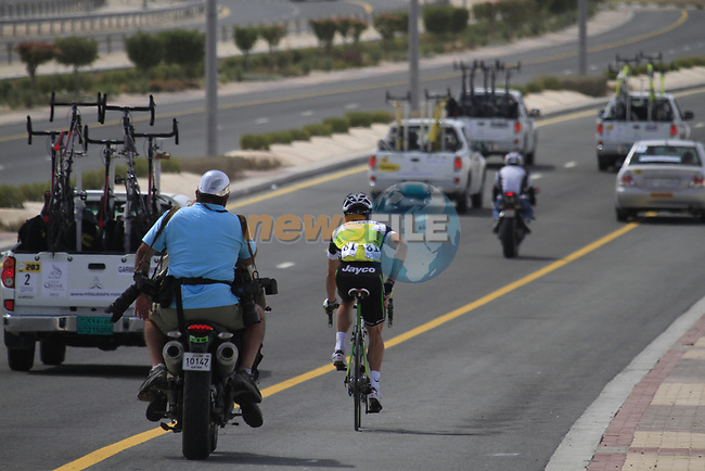 Robbie McEwen (AUS) GreenEdge Cycling Team plays catch up at the start of Stage 3 of the 2012 Tour of Qatar running 146.5km from Dukhan Souq, Dukhan to Al Gharafa, Qatar. 7th February 2012.<br /> (Photo Eoin Clarke/Newsfile)
