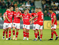 18th April 2021; HBF Park, Perth, Western Australia, Australia; A League Football, Perth Glory versus Wellington Phoenix; Wellington players celebrate with Benjamin Waine after he scored in the 56th minute to put the Pheonix up 0-1