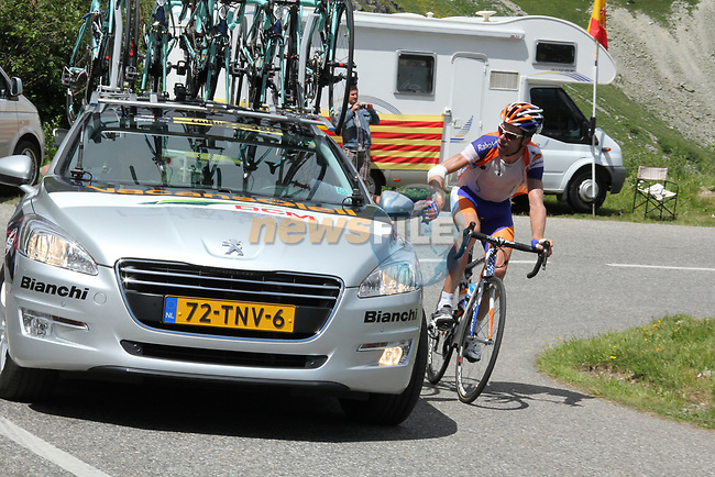 Laurens Ten Dam (NED) Rabobank takes a drink from Vacansoleil-DCM car during Stage 11 of the 99th edition of the Tour de France 2012, running 148km from Albertville to La Toussuire Les Sybelles, France. 12th July 2012.<br /> (Photo by Thomas van Bracht/NEWSFILE)