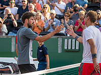 The Hague, Netherlands, 18 July, 2017, Tennis,  The Hague Open, Thiemo de Bakker (NED) (R) is congratulated by Robin Haase (NED)<br /> Photo: Henk Koster/tennisimages.com