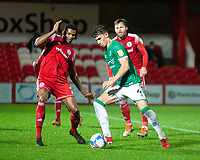 Lincoln City's Lewis Montsma vies for possession with Accrington Stanley's Michael Nottingham<br /> <br /> Photographer Andrew Vaughan/CameraSport<br /> <br /> The EFL Sky Bet League One - Accrington Stanley v Lincoln City - Saturday 21st November 2020 - Crown Ground - Accrington<br /> <br /> World Copyright © 2020 CameraSport. All rights reserved. 43 Linden Ave. Countesthorpe. Leicester. England. LE8 5PG - Tel: +44 (0) 116 277 4147 - admin@camerasport.com - www.camerasport.com