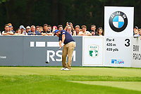 Andrew Johnston tees off from the #3 tee during the BMW PGA Golf Championship at Wentworth Golf Course, Wentworth Drive, Virginia Water, England on 27 May 2017. Photo by Steve McCarthy/PRiME Media Images.