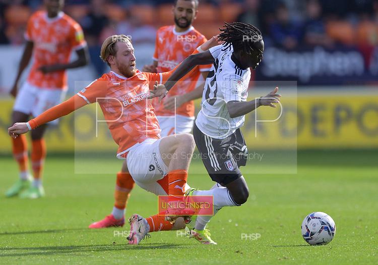 11/09/2021 Sky Bet Championship Blackpool v Fulham<br /> <br /> Josh Bowler fouls Domingos Quina