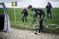 Bernie Eisel (AUT/Dimension Data) wants to test different wheels by going over the worst cobbles of them all twice at sector 4: Carrefour de l'Arbre (2.1 km)<br /> <br /> recon of the 114th Paris - Roubaix 2016