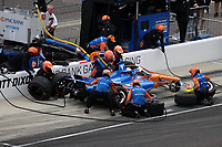 28th May 2021; Indianapolis, Indiana, USA;  NTT Indy Car Series driver Scott Dixon (9) does a pit stop during Miller Lite Carb Day as teams prepare for the 105th running of the Indianapolis 500