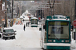 Backed up Portland Streetcars in snow, Portland, Oregon