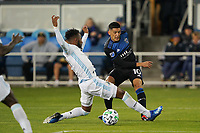 SAN JOSE, CA - MARCH 7: Cristian Espinoza #10 of the San Jose Earthquakes passes the ball during a game between Minnesota United FC and San Jose Earthquakes at Earthquakes Stadium on March 7, 2020 in San Jose, California.