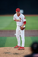Johnson City Cardinals starting pitcher Kyle Leahy (33) looks in for the sign during a game against the Danville Braves on July 28, 2018 at TVA Credit Union Ballpark in Johnson City, Tennessee.  Danville defeated Johnson City 7-4.  (Mike Janes/Four Seam Images)