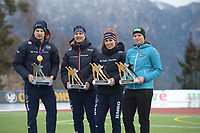 SPEED SKATING: COLLALBO: Arena Ritten, 13-01-2019, ISU European Speed Skating Championships, European Champions Allround Sven Kramer (NED), Kai Verbij (NED), Antoinette de Jong (NED), Vanessa Herzhog (AUS), ©photo Martin de Jong