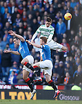 Mikael Lustig towers over Rangers duo Lee Wallace and Stevie Smith