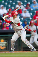Houston Cougars catcher Caleb Barker #27 at bat against the Baylor Bears in the NCAA baseball game on March 2, 2013 at Minute Maid Park in Houston, Texas. Houston defeated Baylor 15-4. (Andrew Woolley/Four Seam Images).