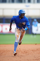 Dunedin Blue Jays outfielder Anthony Alford (10) running the bases during a game against the Charlotte Stone Crabs on July 26, 2015 at Charlotte Sports Park in Port Charlotte, Florida.  Charlotte defeated Dunedin 2-1 in ten innings.  (Mike Janes/Four Seam Images)