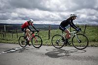 Jolanda Neff (SUI/Trek-Segafredo) & Julie Van de Velde (BEL/Lotto Soudal) up the Côte de La Redoute.<br /> <br /> 3th Liège-Bastogne-Liège-Femmes 2019 (1.WWT)<br /> 1 Day Race: Bastogne – Liège 138,5km<br /> <br /> ©kramon