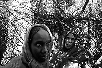 El Fasher, North Darfur, August 22, 2004.Halima Abdallah Ismael (right) and Husna Mohammed (left) have fled their village of Tabhid, near Tawila, looted and destroyed by Janjaweed to take refuge in Zamzam IDP camp. Husna's mother was killed in front of her eyes by an helicopter fired rocket while making tea in the village souk; husna had to take care of her 9 younger brothers and siters.
