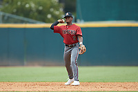 Kahlil Watson (9) of Wake Forest HS in Wake Forest, NC playing for the Arizona Diamondbacks scout team during the East Coast Pro Showcase at the Hoover Met Complex on August 2, 2020 in Hoover, AL. (Brian Westerholt/Four Seam Images)