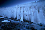 """These ice formations are called """"the penitents"""" because they resemble a parade of white-robed monks"""