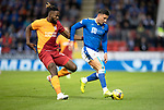 St Johnstone v Galatasaray…12.08.21  McDiarmid Park Europa League Qualifier<br />Michael O'Halloran and Christian Luyindama<br />Picture by Graeme Hart.<br />Copyright Perthshire Picture Agency<br />Tel: 01738 623350  Mobile: 07990 594431