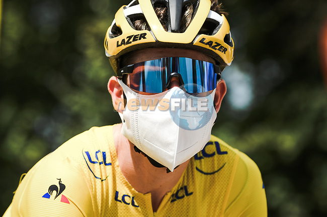 Race leader Wout Van Aert (BEL) Team Jumbo-Visma ready for the start of Stage 2 of Criterium du Dauphine 2020, running 135km from Vienne to Col de Porte, France. 13th August 2020.<br /> Picture: ASO/Alex Broadway   Cyclefile<br /> All photos usage must carry mandatory copyright credit (© Cyclefile   ASO/Alex Broadway)