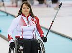 Ina Forrest, Sochi 2014 - Wheelchair Curling // Curling en fauteuil roulant.<br /> Canada takes on Slovakia in round robin play // Le Canada affronte la Slovaquie dans le tournoi à la ronde. 13/03/2014.