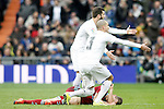 Real Sociedad's Sergio Canales injured in presence of Real Madrid's Nacho Fernandez and Pepe during La Liga match. December 30,2015. (ALTERPHOTOS/Acero)
