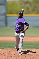 Colorado Rockies relief pitcher Jeffrey Valdez (62) delivers a pitch to the plate during an Extended Spring Training game against the Chicago Cubs at Sloan Park on April 17, 2018 in Mesa, Arizona. (Zachary Lucy/Four Seam Images)