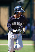 GCL Yankees 1 outfielder Terrance Robertson (81) during the first game of a doubleheader against the GCL Tigers on August 5, 2015 at Tigertown in Lakeland, Florida.  GCL Tigers derated the GCL Yankees 5-2.  (Mike Janes/Four Seam Images)