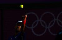 Olympic games London 2012.Tennis tournament.Novak Djokovic SRB v Fabio Fognini ITA.Novak Djokovic returnes the ball.London, 29.07.2012..foto: Srdjan Stevanovic/Starsportphoto ©