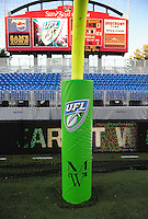 Oct. 8, 2009; Las Vegas, NV, USA; Detailed view of a UFL logo on the goal post padding during the game between the California Redwoods against the Las Vegas Locomotives in the inaugural United Football League game at Sam Boyd Stadium. Las Vegas defeated California 30-17. Mandatory Credit: Mark J. Rebilas-
