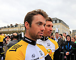 Team Lotto NL-Jumbo at the Team Presentations in Compiegne before the 2015 Paris-Roubaix cycle race held over the cobbled roads of Northern France. 11th April 2015.<br /> Photo: Eoin Clarke www.newsfile.ie