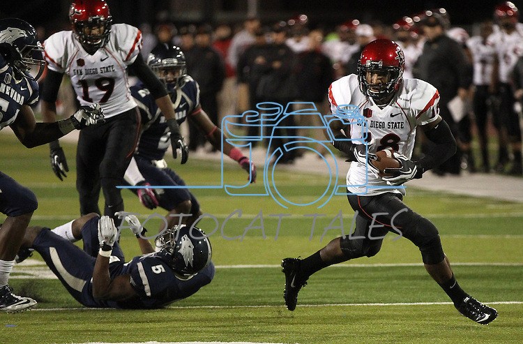 San Diego State's Dominique Sandifer (18) turns the corner during the second half of an NCAA college football game against Nevada in Reno, Nev., on Saturday, Oct. 20, 2012. (AP Photo/Cathleen Allison)