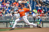 Virginia Cavaliers starting pitcher Nathan Kirby (19) delivers a pitch to the plate against the Florida Gators in Game 11 of the NCAA College World Series on June 19, 2015 at TD Ameritrade Park in Omaha, Nebraska. The Gators defeated Virginia 10-5. (Andrew Woolley/Four Seam Images)