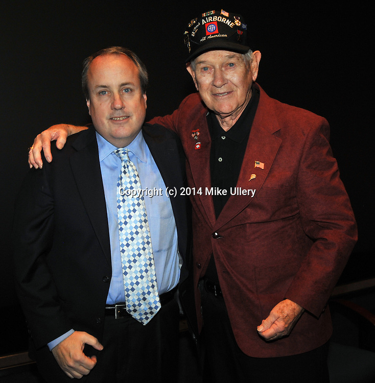 """The """"Reel Stuff Salute to Heroes"""" at the National Museum of the United States Air Force on Novemeber 8, 2014. Presented by Reel Stuff founder Ron Kaplan and featuring Donald """"Jake"""" Jakeway, WWII paratrooper with the 82nd Airborne; Jon Tennyson, writer, producer and director of Sleeping Dog Productuions; Col. C.E. """"Bud"""" Anderson, a Triple Ace with the 357th Fighter Group (WWII)  and Jame Miller of the 336th Assault Helicopter Company (Vietnam War)"""