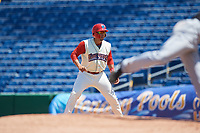 Clearwater Threshers first baseman Darick Hall (21) leads off first base during a game against the Jupiter Hammerheads on April 11, 2018 at Spectrum Field in Clearwater, Florida.  Jupiter defeated Clearwater 6-4.  (Mike Janes/Four Seam Images)