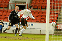 20040403     Copyright Pic : James Stewart.File Name : jspa01_clyde_v_qots.QUEEN OF THE SOUTH KEEPER CRAIG SAMSON IS STRANDED AS STEPHEN MCCONALOGUE SCORES CLYDE'S FIRST.....James Stewart Photo Agency 19 Carronlea Drive, Falkirk. FK2 8DN      Vat Reg No. 607 6932 25.Office     : +44 (0)1324 570906     .Mobile  : +44 (0)7721 416997.Fax         :  +44 (0)1324 570906.E-mail  :  jim@jspa.co.uk.If you require further information then contact Jim Stewart on any of the numbers above.........