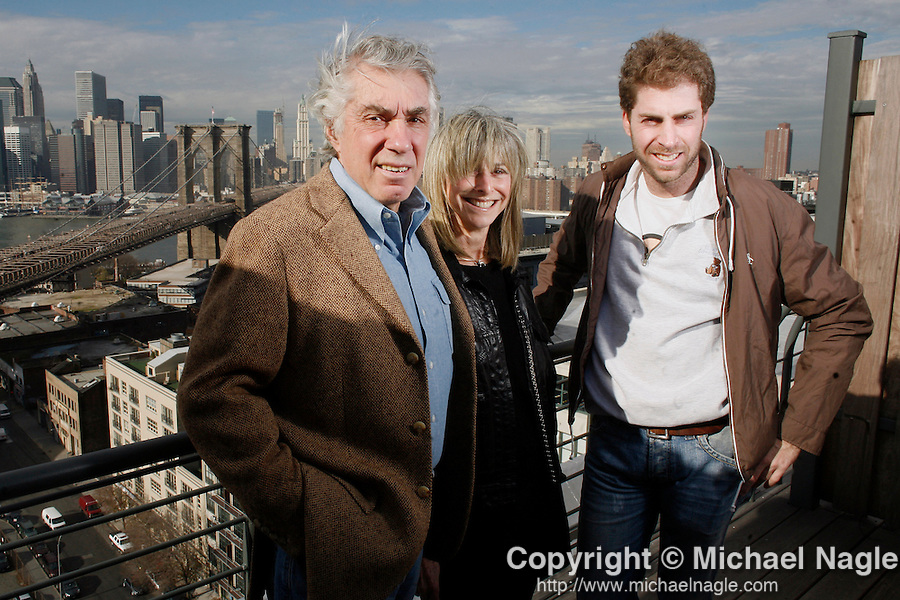 BROOKLYN- DECEMBER 11:   Two Trees developers David Walentas (L), his wife Jane and son Jed on top of one of  71 Washingto, one their buildings in Dumbo, on Monday December 11, 2006 in Brooklyn.  (Photo by Michael Nagle).