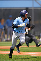 Tampa Bay Rays Jonathan Aranda (48) runs to first base during a Minor League Spring Training game against the Baltimore Orioles on April 23, 2021 at Charlotte Sports Park in Port Charlotte, Florida.  (Mike Janes/Four Seam Images)